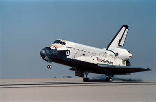 Space Shuttle Challenger makes a landing at Edwards Air Force Base in  California on Nov. 6, 1985.