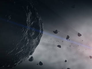 Illustration of Bennu and other asteroids