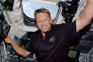 Astronaut Piers Sellers on the Space Shuttle