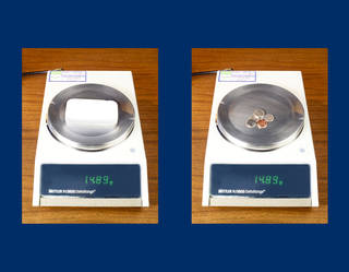 Comparison of the weight between an Aerogel material sample and a collection of 3 dimes, 1 nickle and 1 penny.