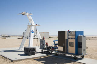The equipment required for an electric propulsion test is ready for research.