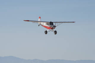 The MicroCub, a modified Bill Hempel 60-percent-scale super cub, approaches Armstrong Flight Research Center.