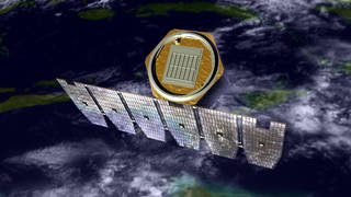 An artist's rendition of the AIM spacecraft in orbit above Earth.