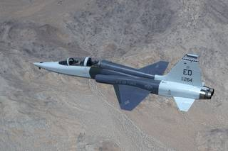 A T-38C from the Air Force Test Pilot School served as a target for NASA's schlieren imaging system.