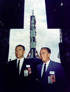 Apollo chief designer Wernher von Braun and Kennedy Space Center Director Kurt Debus