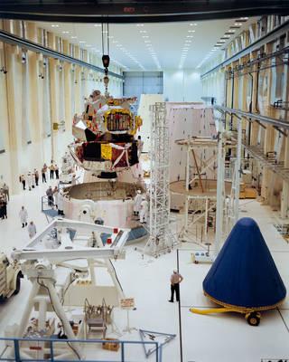 Lunar Module-1 during preflight integration