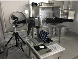 A view of the Astromaterials 3D project's high-resolution photographic equipment setup inside the Lunar Sample Laboratory Facili