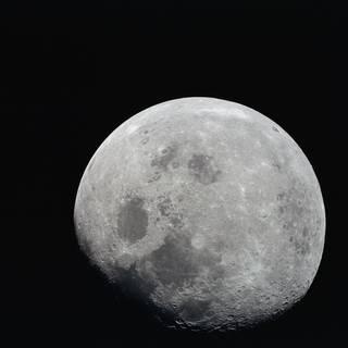 Mare Crisium, el área circular de color oscuro cerca del centro, está cerca del borde este de la luna visto desde la Tierra.