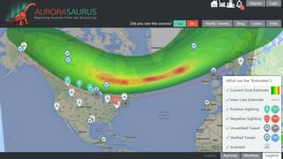Aurorasaurus aurora map from March 6, 2016