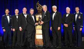 The Automatic Ground Collision Avoidance System Team accepted the Collier Trophy on June 13, 2019.