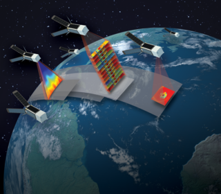 Artist concept of TROPICS satellites in orbit