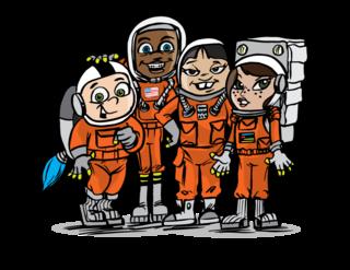 Astronaut kids cartoon art for 2018 Commercial Crew calendar