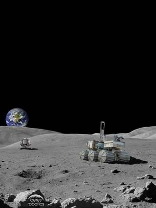 Artist's concept of a CERES commercial lander on the Moon.