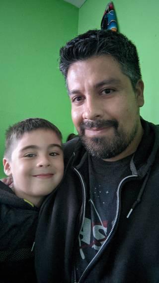 Cesar Rubio and his son Miguel