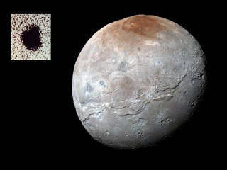 An enhanced color image of Charon by the New Horizons spacecraft in 2015 and view of a moon discovered in 1978