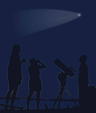 artist's illustration of a group of comet enthusiasts