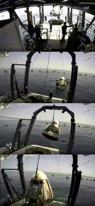 SpaceX's Crew Dragon splashes down in the Gulf of Mexico off the coast of Pensacola, Florida at 2:48 p.m. EDT Aug. 2, 2020.