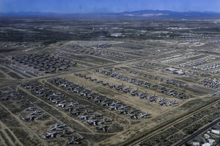 An aerial view of Davis-Mothan Air Force Base in Tuscon, Arizona.