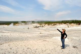 A scientist in a barren landscape pointing up, with steam rising in the background.