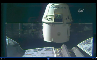 NASA TV screenshot of SpaceX Dragon spacecraft departing ISS on Aug. 26, 2016.