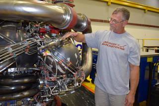 Owen Brayson, an instrumentation technician for NASA's RS-25 prime contractor Aerojet Rocketdyne