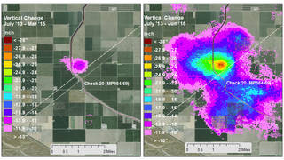 Relative expansion of the subsidence bowl centered just north of Avenal Cut-off Rd