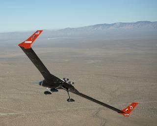 The X 56A Flies Over The Desert Near NASA Armstrong Flight Research Center,  Edwards