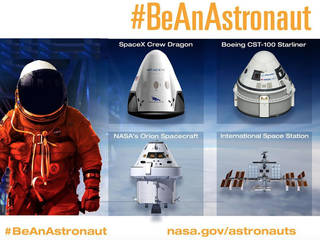 Illustration of astronaut and four spacecraft -- SpaceX Crew Dragon, Boeing CST-100 Starliner, Orion, and Space Station