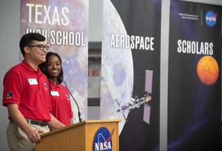 Two student speakers at the Texas High School Aerospace Scholars