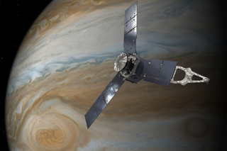 Artist's concept of the Juno spacecraft orbiting Jupiter