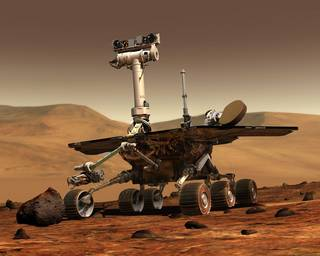 An artist's drawing of one of NASA's Mars rover on the surface of Mars