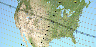 Map of the U.S. showing the path of the 2017 solar eclipse