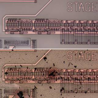 Images of integrated circuit before and after testing.