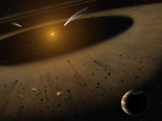 Artist's illustration of the Epsilon Eridani system showing Epsilon Eridani and a Jupiter-mass planet orbiting its parent star.