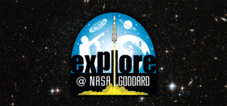 Explore at NASA Goddard logo on a starfield background