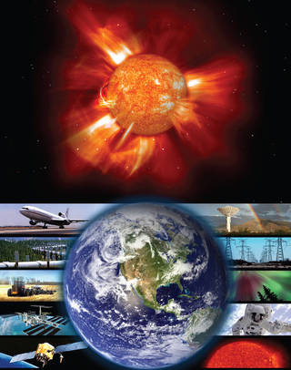 Imaging showing impacts of space weather events.