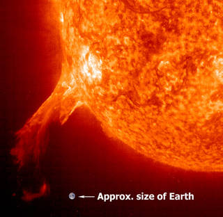 An erupting pominence with Earth inset to show scale.