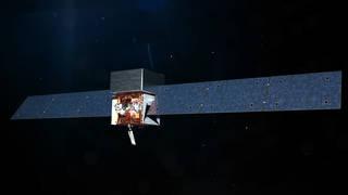 "illustration of Fermi satellite, with long rectangular solar panel ""wings"""
