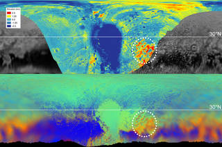 The maps above are from New Horizons' data on the topography (top) and composition (bottom) of Pluto's surface.
