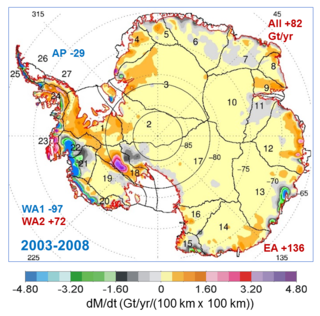 Map showing the rates of mass changes from ICESat 2003-2008 over Antarctica.