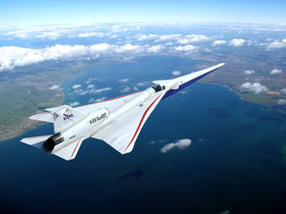 Artist concept of NASA's X-59 in flight.