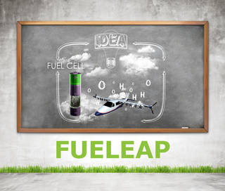 Artist concept of a chalk board showing fuel cell and an electric airplane with oxygen and hydrogen around it.