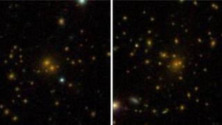 Sloan Digital Sky Survey DR8 galaxy katalogundan iki adet galaksi kumesi fotografi