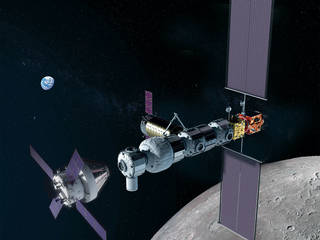 Concept image showing the Gateway in lunar orbit