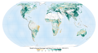 A world map showing the trend in annual average leaf area, in percent per decade (2000-2017)