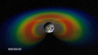 The Van Allen radiation belts circle Earth like donut-shaped rings