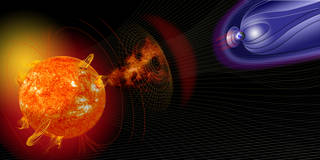 The artist's illustration shows how events on the sun change the conditions in near-Earth space.
