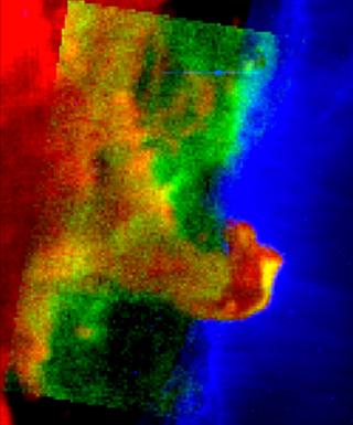 Hestehovedtågen i falske farver  er viser forskellige iR bølgelængder