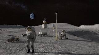 Concepto de astronautas de superficie del sistema de aterrizaje humano 2024