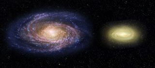 two spiral galaxies, Left one blue and pink, right one smaller and yellow